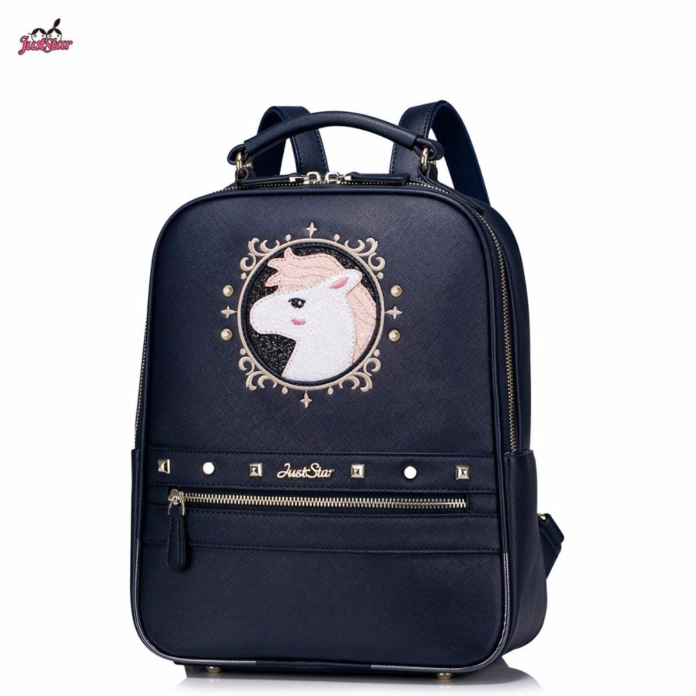 ФОТО Just Star Brand Design White Horse Collage Embroidery Rivets PU Women Leather Girls Ladies Backpack Shoulders Travel School Bags