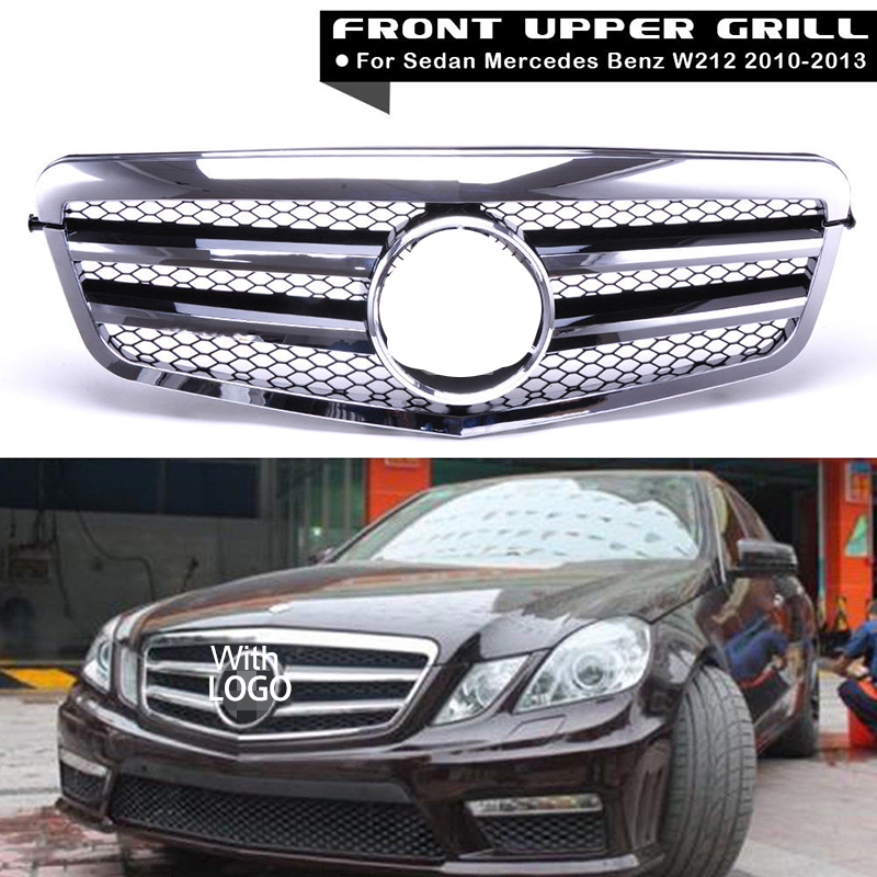 Car Racing Grille For Mercedes Benz E-Class W212 2010-2013 Grill Emblems Chrome Black Mesh Radiator Front Bumper Lower Modify pp class front car mesh grill sport style fit for benz w203 c 2000 2006