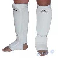 New Good Quality Karate Shin Instep Guards MMA Taekwondo Leg Guard Foot Sparring Pads White Black
