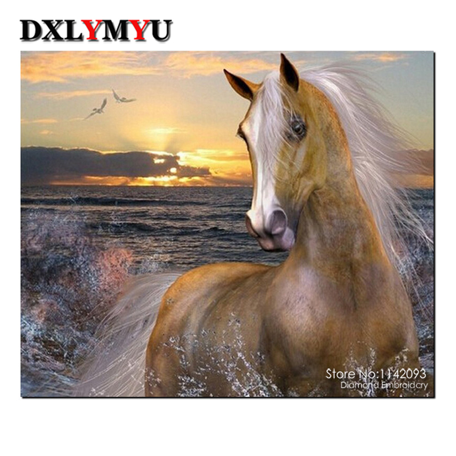 3d diy diamond painting cross stitch 5d full diamond embroidery horse picture beads square drill diamond mosaic crafts