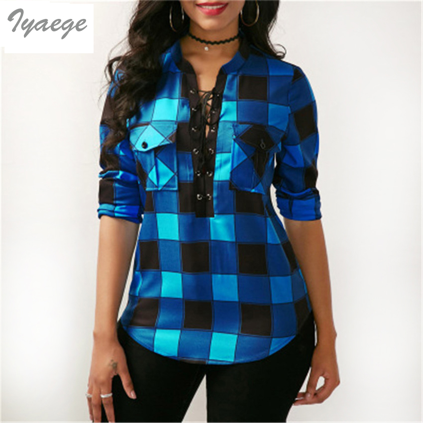 Casual V-neck Plaid   Blouse   Sexy   Blouse     Shirt   Ladies Sleeve Women Hollow Out Femme Office Long Sleeve Checkered England   Blouse