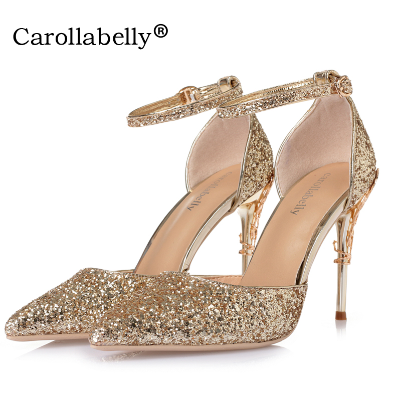 5622cfd368 US $25.42 39% OFF| 2018 New Sexy Mental Heel Women Shoes Sequins leather  High Heels Women Pumps Flower Metal Heel Stiletto Wedding Party shoes -in  ...