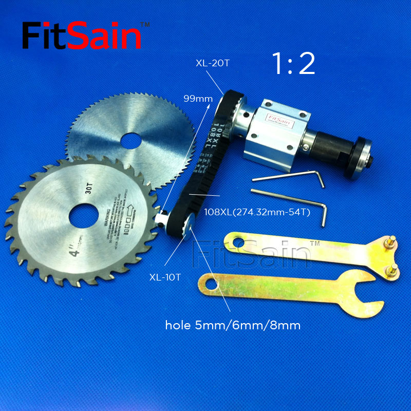 FitSain-Mini table saw for saw blade 16mm/20mm XL 10 20 teeth spindle aluminum alloy Pulley 1 : 2 Cutting saws center hole 5 6 8