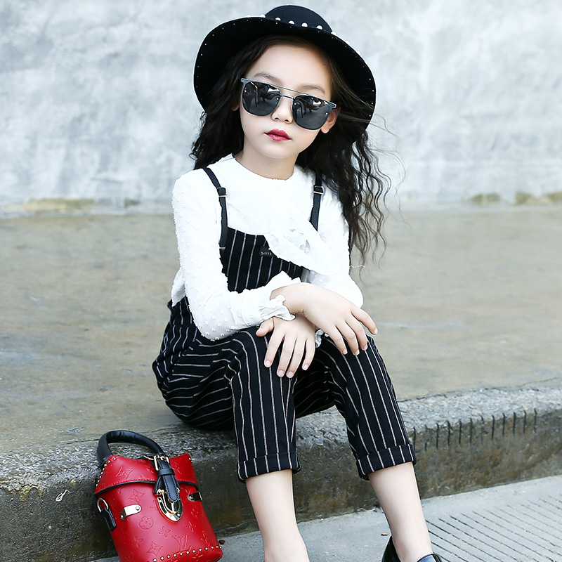 2017 Fashion Kids Outfits Cotton Children Clothing Sets England Girls Blouses Shirts + Overalls 2Pcs Autumn Girls Princess Suits 2017 spring autumn children girls set new brand fashion solid shirts cotton pants 2 pieces suits casual kids clothing sets hot