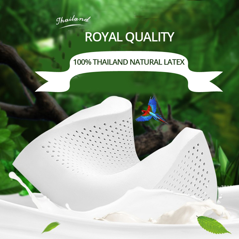 Talalay Crafts Natural Latex Pillow Low High Curve Design Soft Elastic Antibacterial Non triggering Breathable Honeycomb