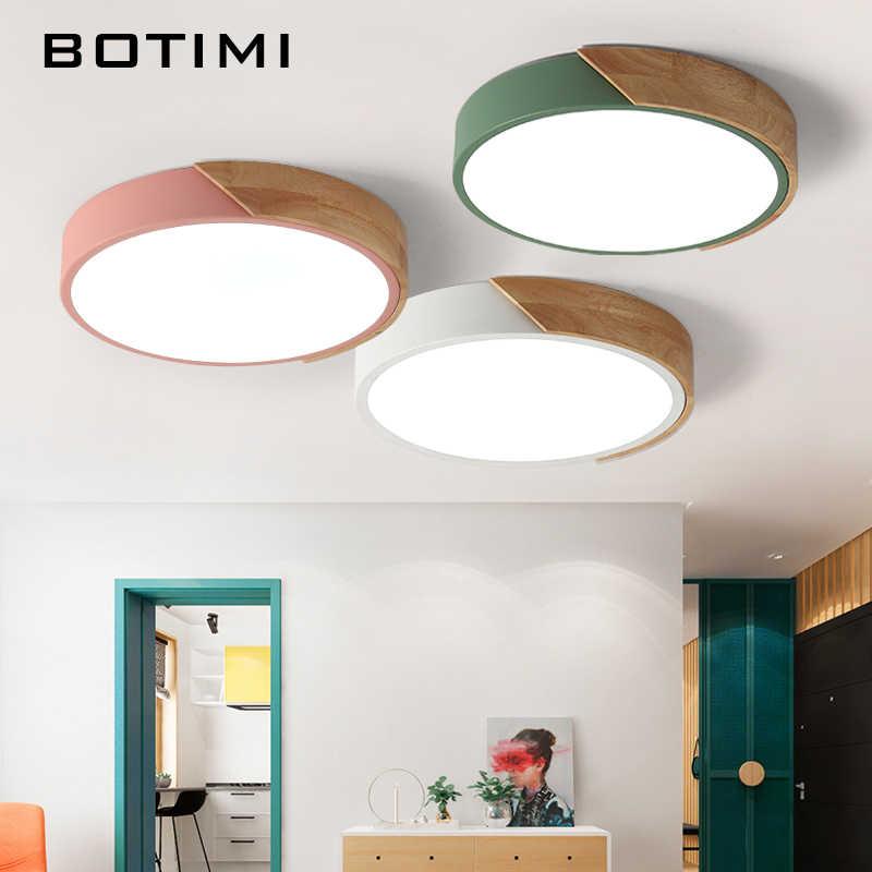 BOTIMI 220 V светодиодный потолочный светильник в скандинавском стиле круглая потолочная лампа для Деревянный светильник для кухни