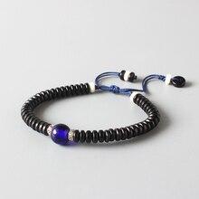 8e59c746ddffa1 En gros De Noix De Coco Shell Avec Marine Bleu Verre Perles Ethniques  Bracelet Réglable Taille Artisan Main Bijoux Pour Hommes F..