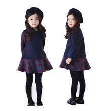 fashion designer 2016 new winter cotton cashmere woolen dress Girls Princess Dress china-imported-clothes free shipping