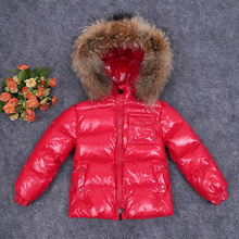 2016children's clothing down coat baby child male female child boy black short design large fur collar