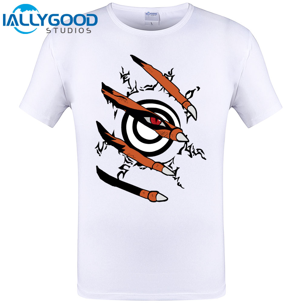 Free Shipping Mens T Shirts Fashion 2017 Anime Naruto Nine