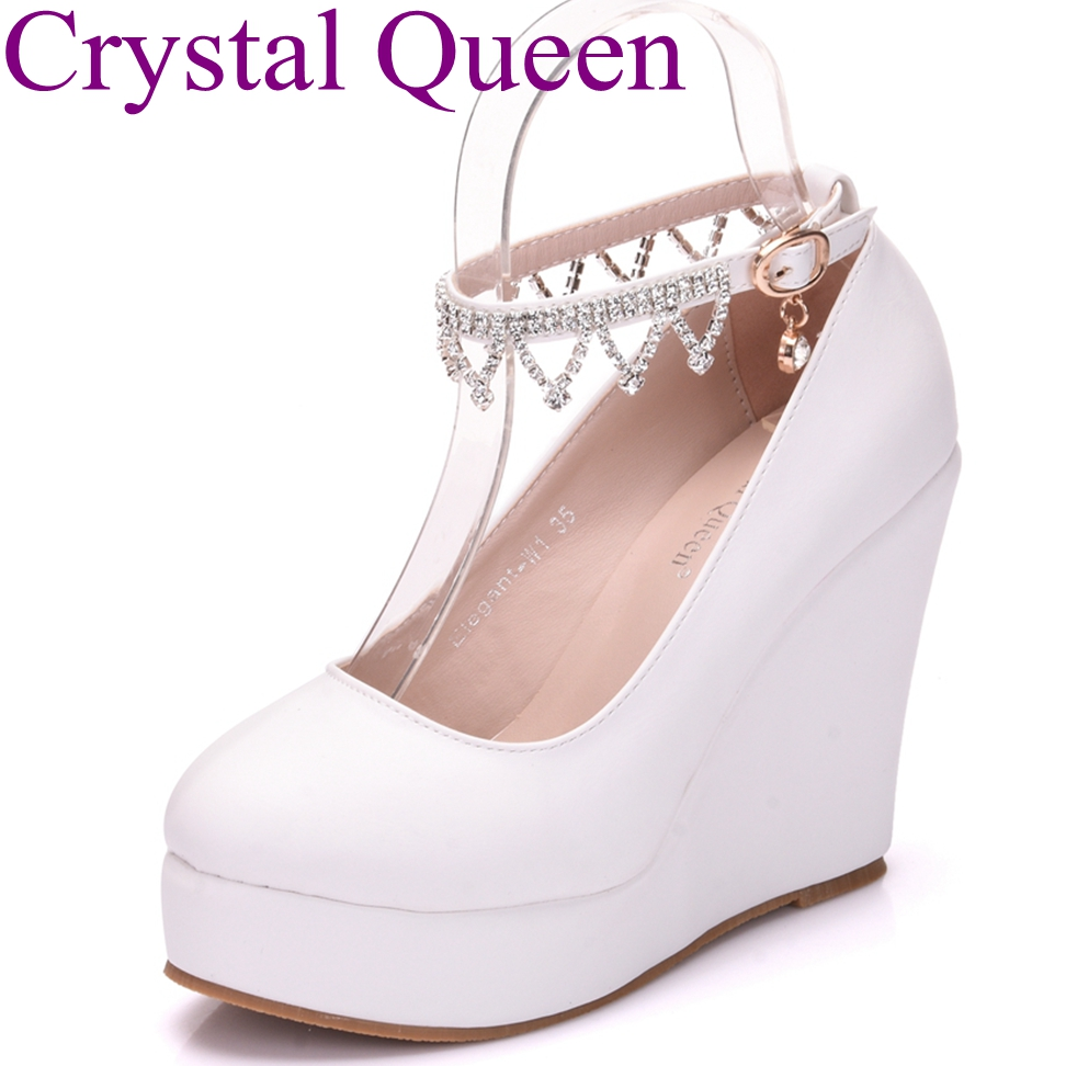 Black white wedges pumps for women platform high heels round toe chain  leisure fashion high heels f56164a8cab9