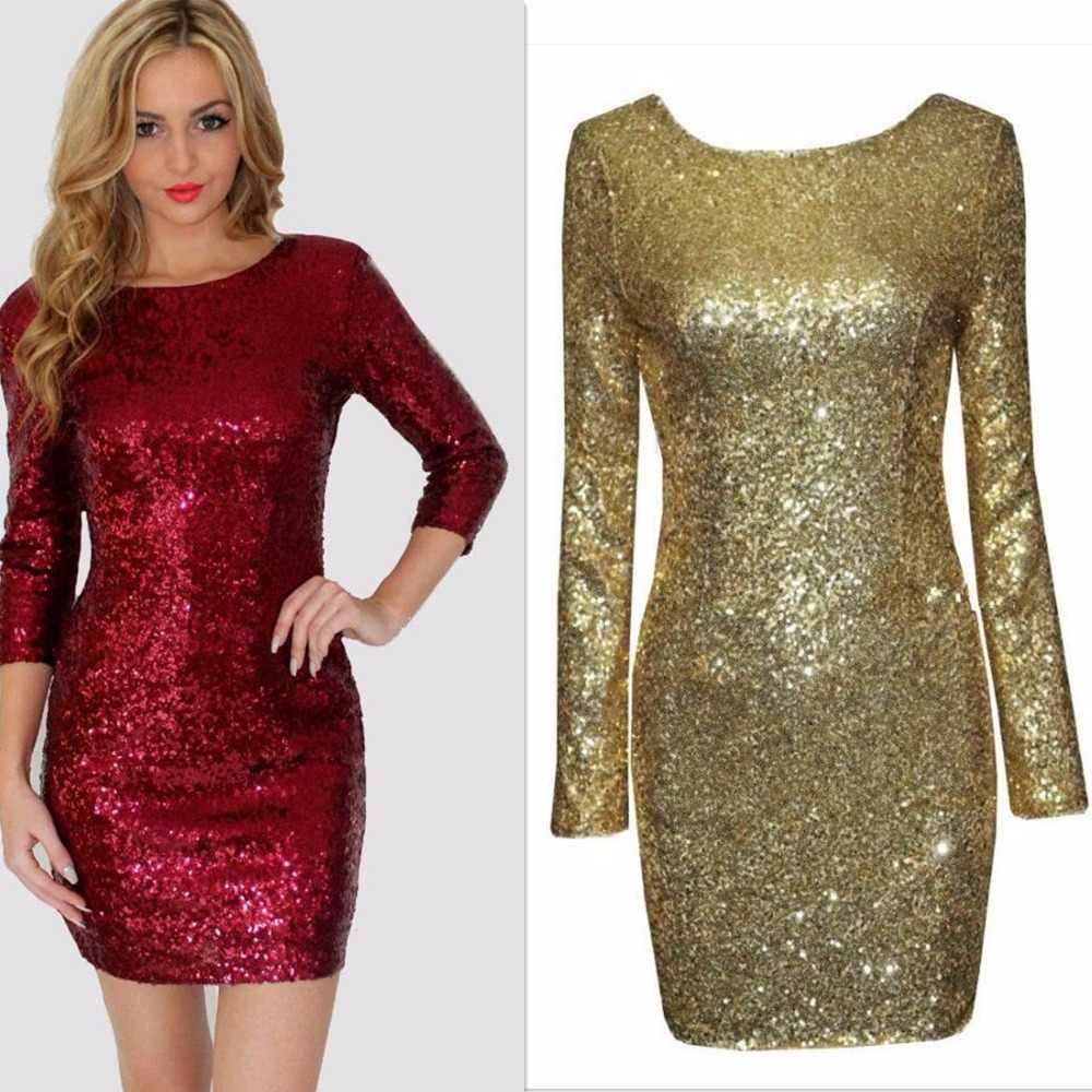 Detail Feedback Questions about Ladies Sexy Glitter Gold Red Black White  Long Sleeve Full Sequins Party Club Prom Flapper Dress With Back Open on ... 75e352cf341d