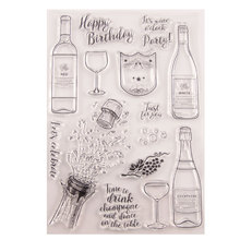 New Wine Glass Happy Birthday Clear Stamps Transparent Silicone Seal for DIY Scrapbooking Photo Album Decorative Template Crafts