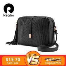 ddd485e12070 REALER сумка женская через плечо на молнии, ретро маленькая сумка-мессенджер  с кисточкой, маленькая сумка на плечо для женщин, д.