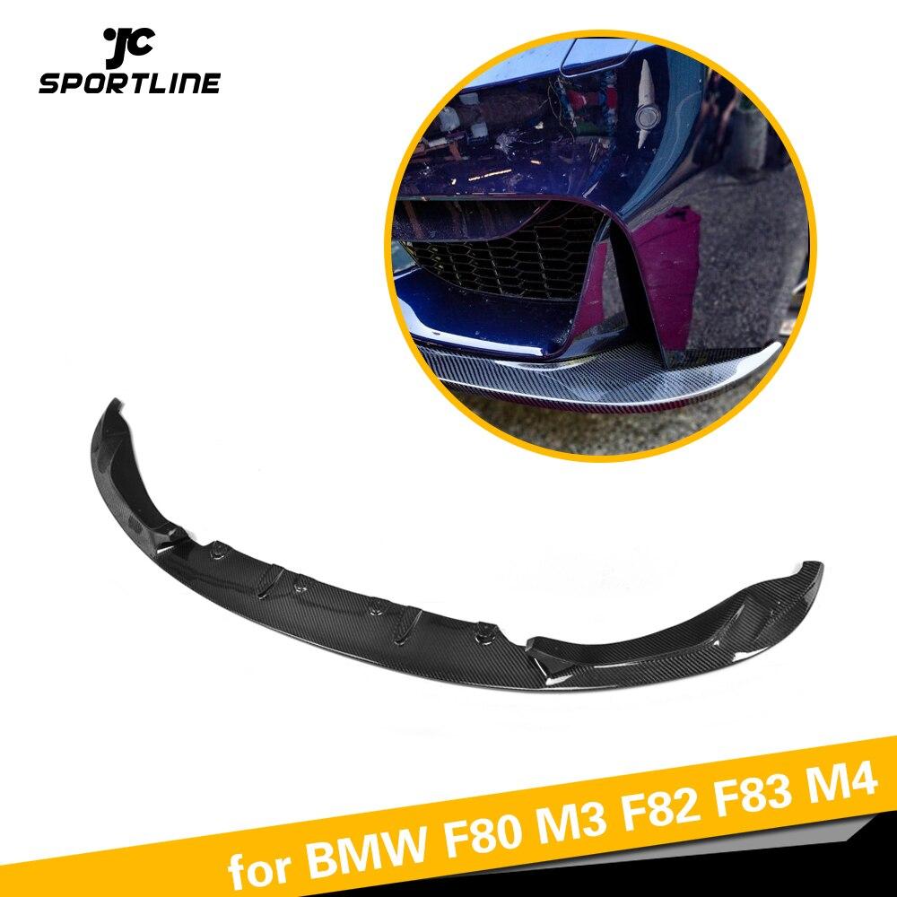 Front Bumper Lip Avental para BMW Série 4 F80 M3 F82 F83 M4 Sedan Coupe Convertible 2014-2018 Carbono luvas de Corrida de fibra