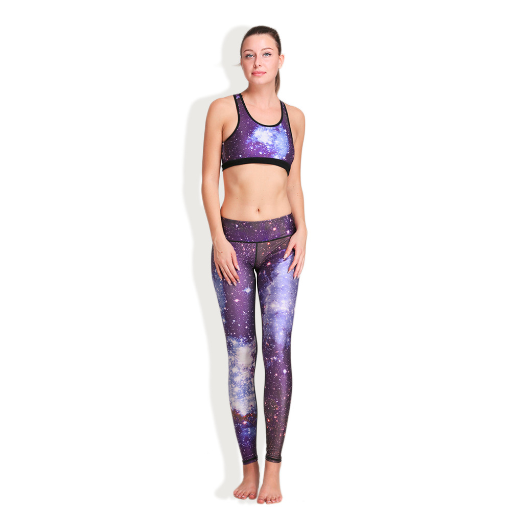 HW2016 NEW arrival  new 3D Printing Purple Starry Sky Elastic Breathable Vest Leggings Yoga Set  hw2016 new arrival new 3d printing purple starry sky elastic breathable vest leggings yoga set