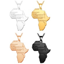 Trendy Africa Map Necklace Pendant For Women Men Collar Personalized  Hiphop Stainless Steel Jewelry