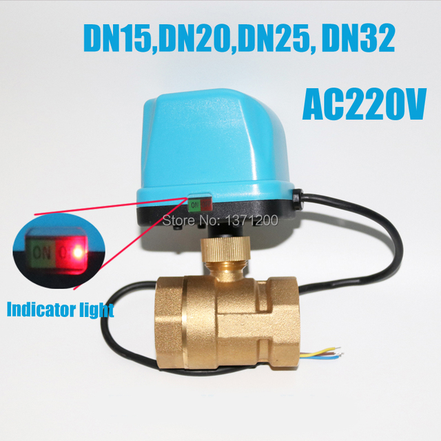 US $22 59 |DN15 DN20 DN25 DN32 AC220V 2 way Electric Ball Valve with  electric actuator, Brass Motorized Ball Valve with indicator light -in  Valve from