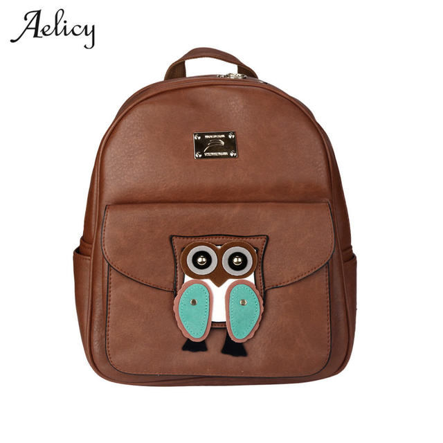 Aelicy 2018 Solid High Quality PU Leather Backpack Women Designer Animals School  Bags For Teenagers Girls Luxury Women Backpacks 077e100fef8e8