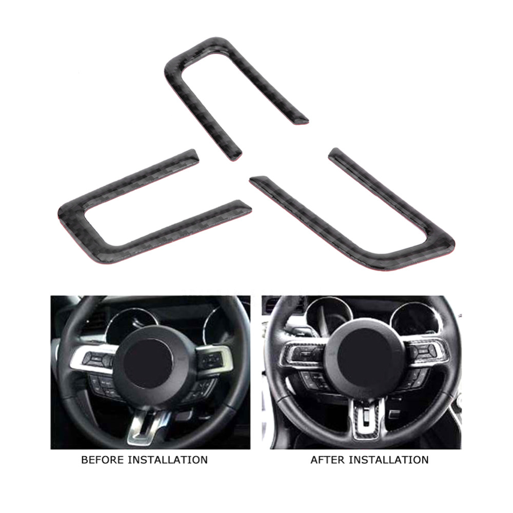 3Pcs Car Interior Steering Wheel Button Cover Trim Sticker for Ford <font><b>Mustang</b></font> <font><b>2015</b></font> 2016 2017 Carbon Fiber Car <font><b>Accessories</b></font> New image