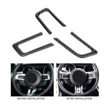 3 шт. салона рулевое колесо Кнопка крышка отделочный стикер для Ford Mustang 2015 2016 2017 углерода волокно автомобиля интимные аксессуары новый