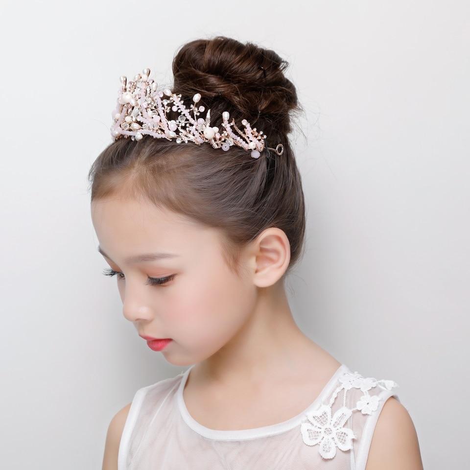 Pink Crystal Tiara Crown Princess Flower Girls Wedding Headband Hair Jewelry Teens Children S Day Pageant Prom Headpiece Gifts Hair Jewelry Aliexpress