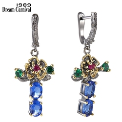 DreamCarnival 1989 New Arrived Flower Style Drop Earrings for Women Blue Zirconia Anniversary Party Chic Jewelry Hot Pick WE3877