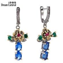 DreamCarnival 1989 nowa dostawa kwiatowy styl spadek kolczyki dla kobiet niebieski cyrkon przyjęcie rocznicowe elegancka biżuteria Hot Pick WE3877