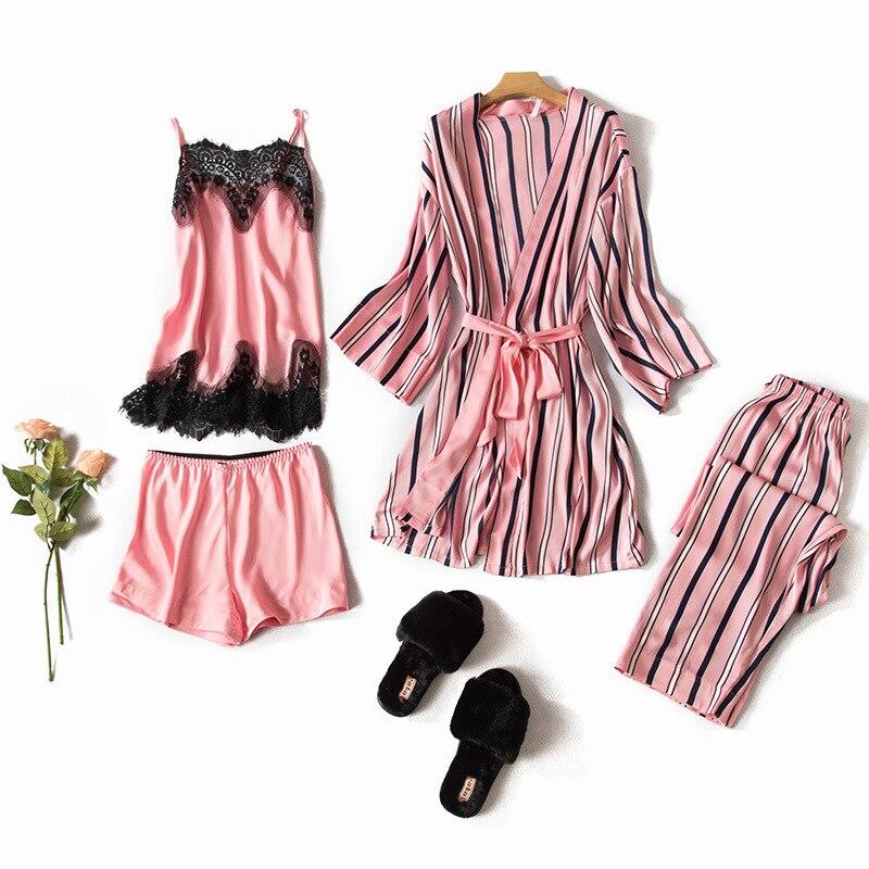 Femmes rayé Kimono Robe de bain Sexy 4 pièces vêtements de nuit rayonne Satin pyjama Pijama ensemble casual Cami & Shorts & pantalons & Robe vêtements de maison