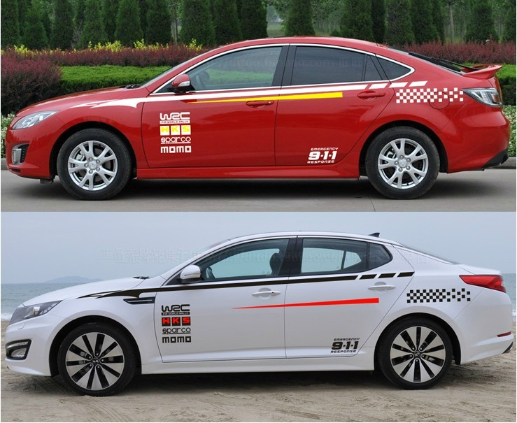 XYIVYG Car Styling 2016 New Fashion WRC  Vinyl Whole Body car Stickers Car Body Waistline Stripes Decals 1pair universal fashion car sticker decals fire flame decor vinyl decoration stickers auto truck styling for the whole car body
