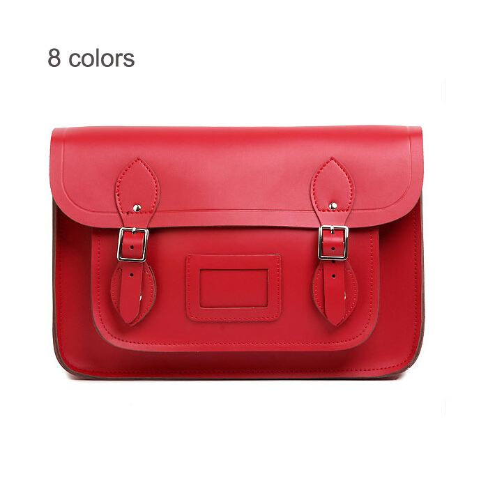 13 Inches Famous Brand Vintage British Style Real Leather Shoulder Cross Body Bags Genuine Messenger Satchel Bag Handbag In From