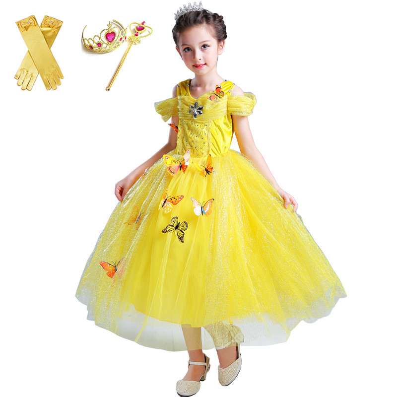 girls cinderella dress up costume kids sleeveless princess belle yellow party dresses for halloween birthday pageant