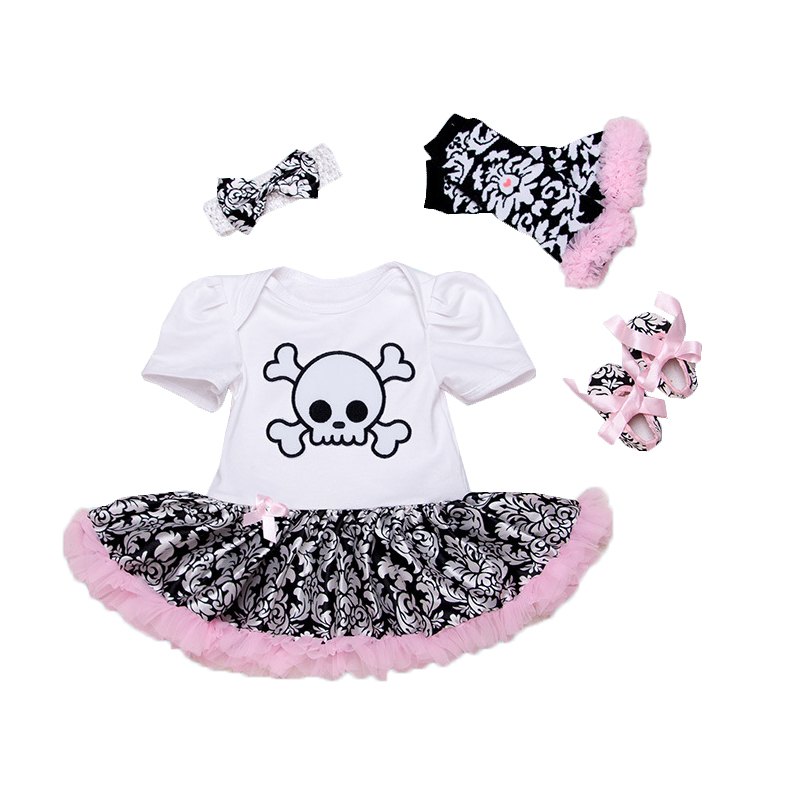 Newborn Girls Clothing Set 3 Piece Suits Skull Romper Tutu Skirt+Headband Infant Baby Leopard Baby Set Halloween Clothes Bebes baby girls infant love applique tutu set baby lace romper dress crib shoes headband 3 piece newborn baby girl clothing set bebe