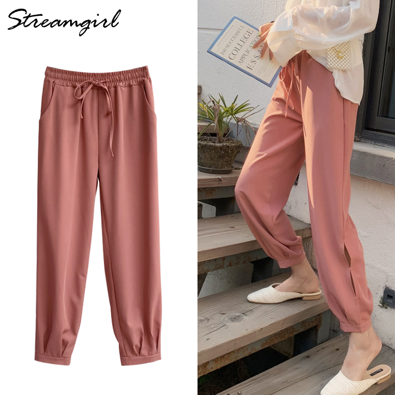 Streamgirl Black Loose Female   Pants     Capris   Ladies Harem Trousers Female Elastic Waist Open Side   Pant   Women Chiffon   Pants   Summer