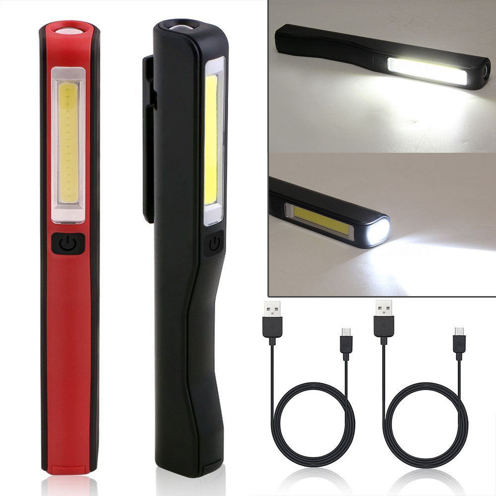 2in1 Rechargeable LED COB Camping Work Inspection Light Lamp Hand Torch Magnetic Red Black USB Charger Cable Drop Shipping