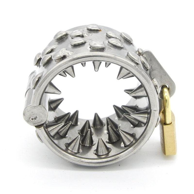 Dispositif de chasteté à crampons en acier inoxydable anneau de pénis civière à balle anneau de Scrotum anneau de chasteté jouets sexuels pour adultes pour hommes