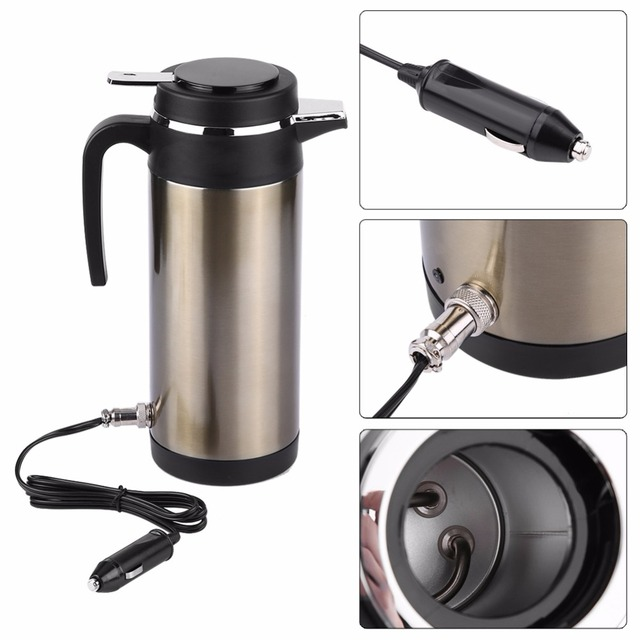 1200ML 12V24V car Heating Water Bottle Stainless Steel Electric In-car Kettle Travel Thermoses Auto Boiling Water Bottle