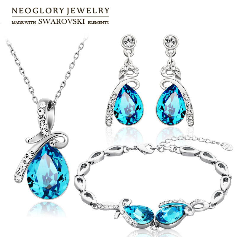 Neoglory Austria Crystal & Rhinestone Jewelry Set Water Drop Design Stylish Necklace & Earrings & Bracelet Trendy Lady Gift a suit of stylish faux sapphire rhinestone necklace bracelet earrings and ring for women