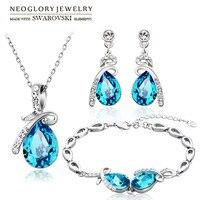 Neoglory MADE WITH SWAROVSKI ELEMENTS Crystal Rhinestone Jewelry Set Water Drop Style Necklace Earring Bracelet New
