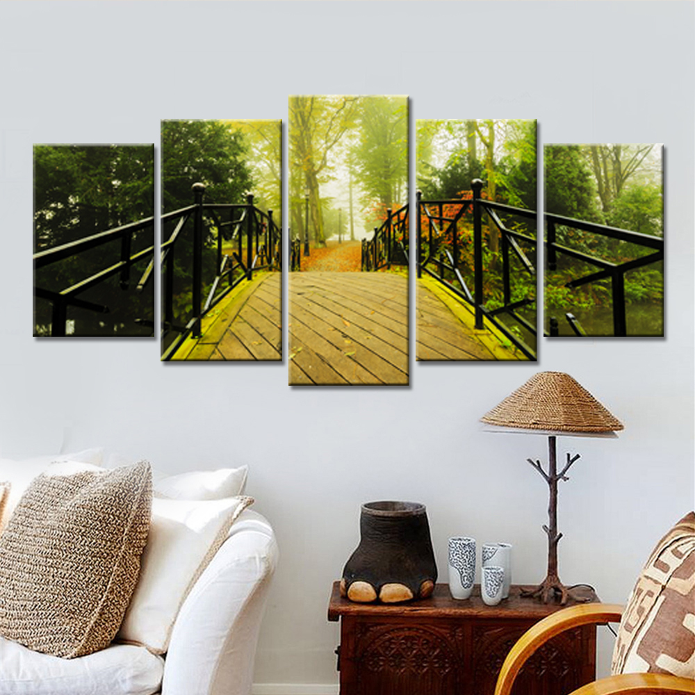 Modern HD Printed Modular Pictures Frame Canvas 5 Panel Green Trees ...