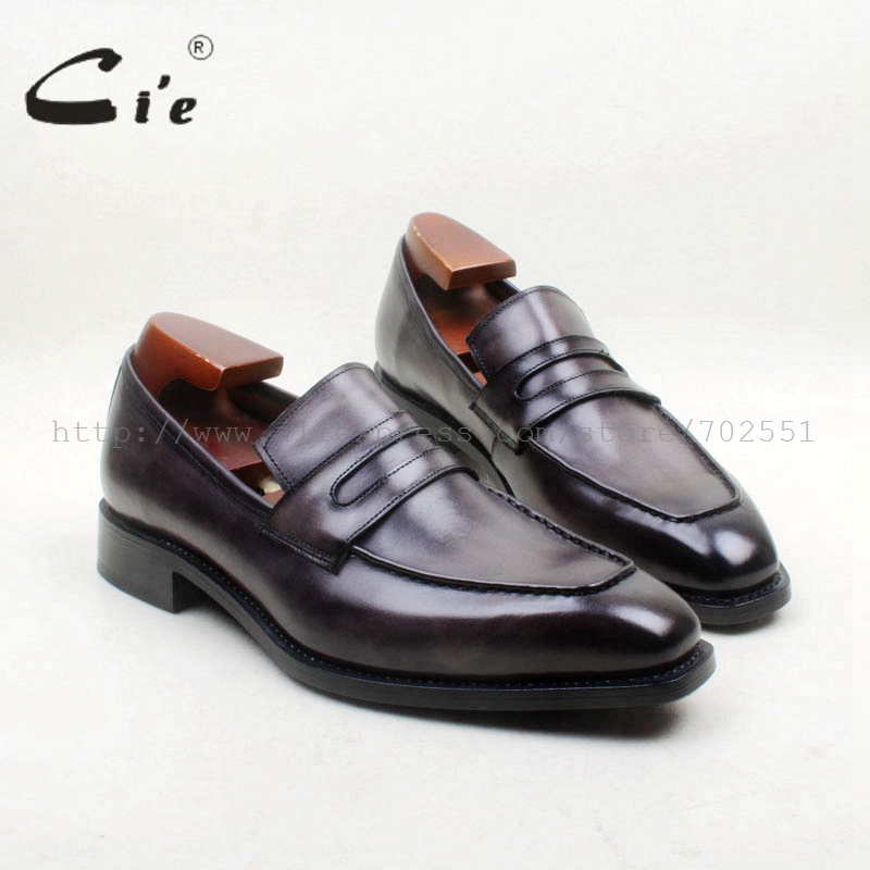 cie Free Shipping Square Toe 100% Genuine Leather Outsole Bespoke Goodyear Handmade Gray Penny  Men's Slip On Shoe No.loafer 163 cie free shipping round toe adhesive craft handmade tassel slip on casual calfskin blue purple leather men s shoe no loafer 53
