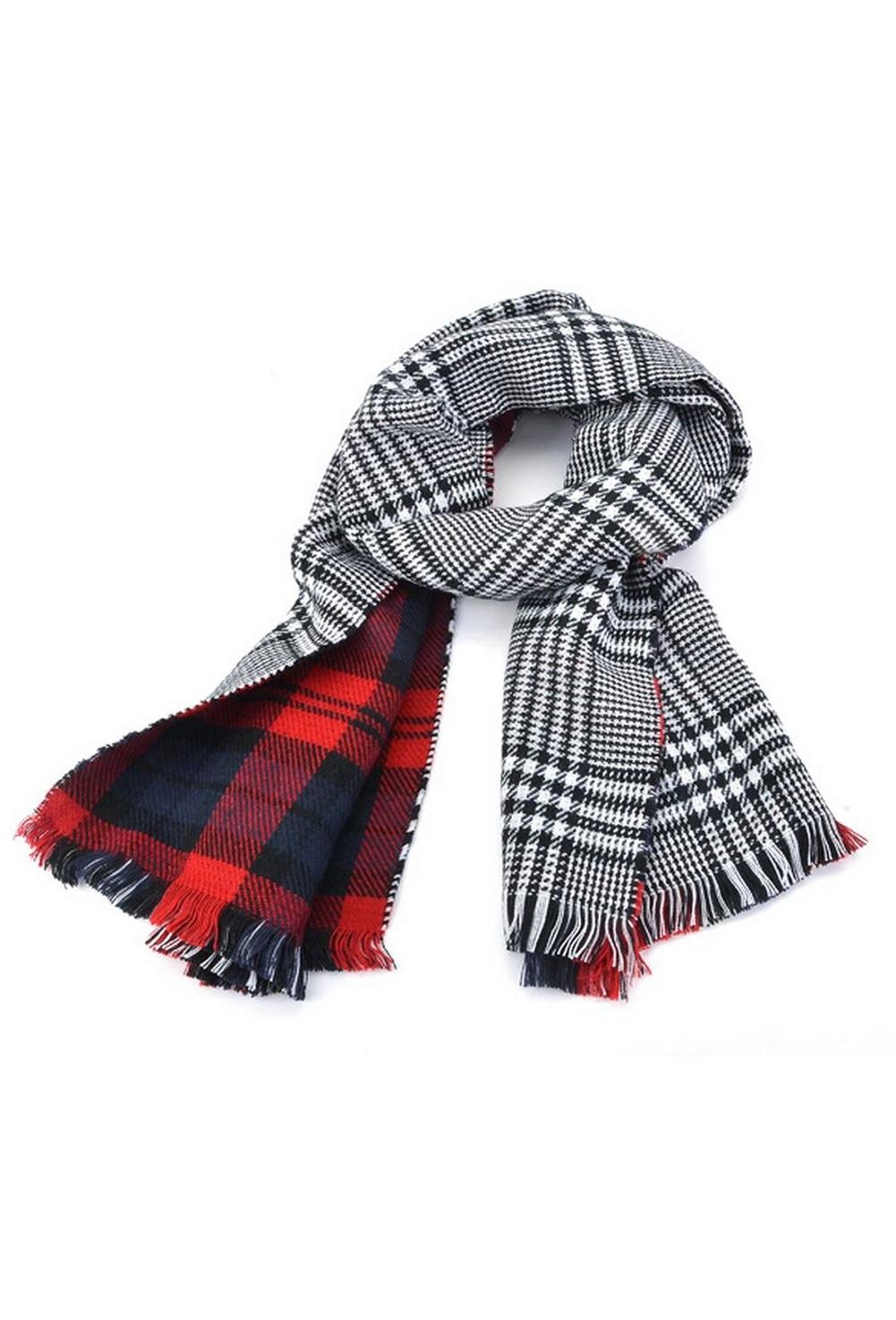 SAF-Lady Women's Long Check Plaid Tartan   Scarf     Wraps   Shawl Stole Warm   Scarves   Red