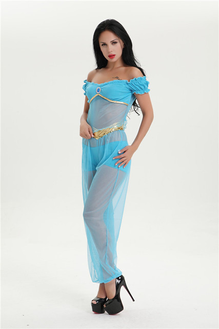 free shipping arabian princess jasmine costume women aladdins jasmine cosplay halloween costumes for women belly dance