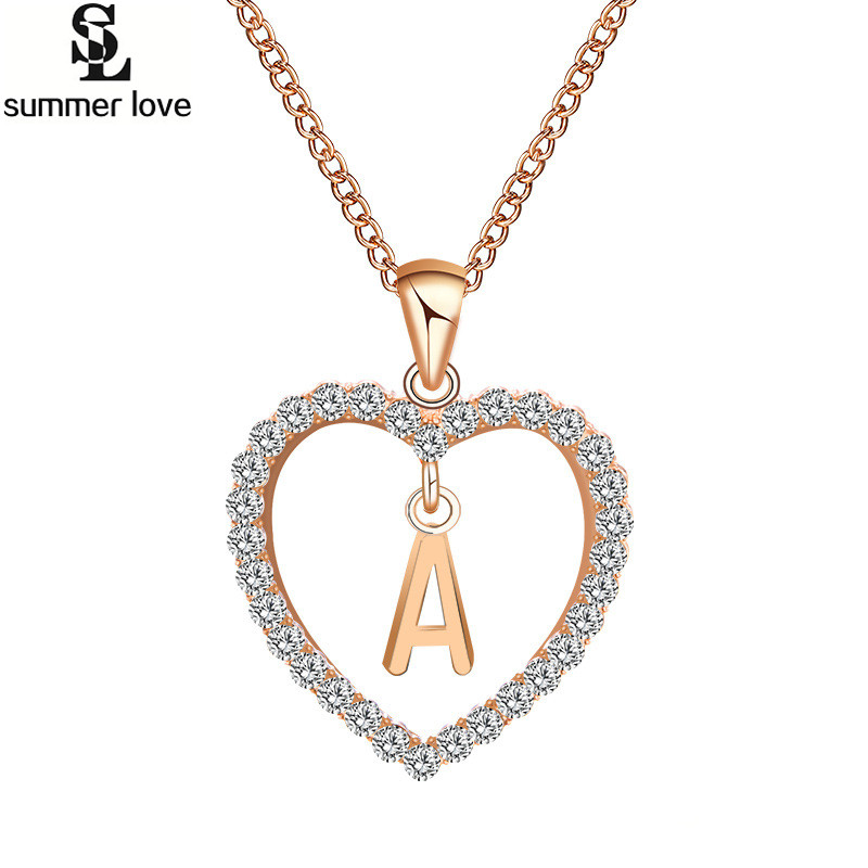 US $1 64 51% OFF|Alphabet A to Z 26 Initial Letter Necklace Rhinestone  Austrian Crystal Heart Necklace Name Jewelry For Women Accessories Gift-in