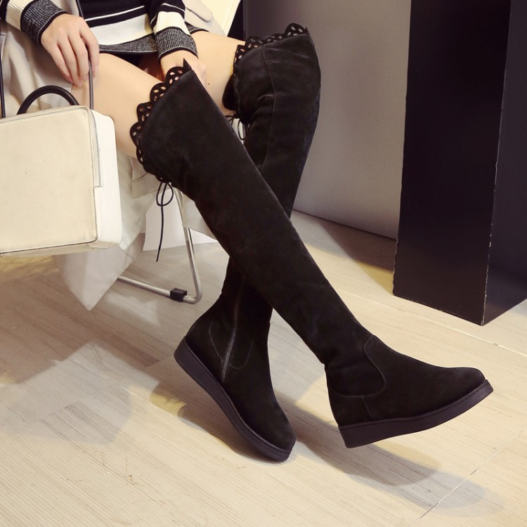 2017 Botas Mujer Big Size 34-43 Brand Design Patch Color Over The Knee Boots Thick Sole Platform Slim Long Winter Autumn X79-9
