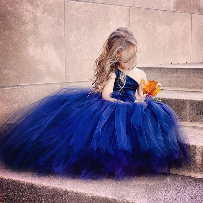 Flower Girl Dress princess dress blue party dress long girls wedding dress