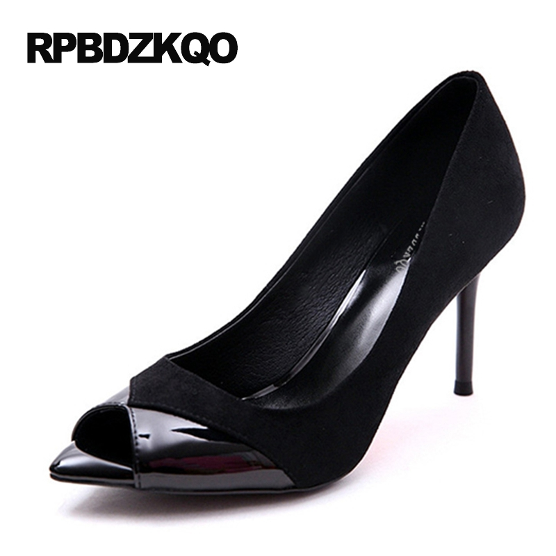 Small Size Party Women Peep Toe High Heels Suede Shoes Pumps Scarpin 4 34 Fish Mouth 2017 Black Flock Summer Fashion Slip On