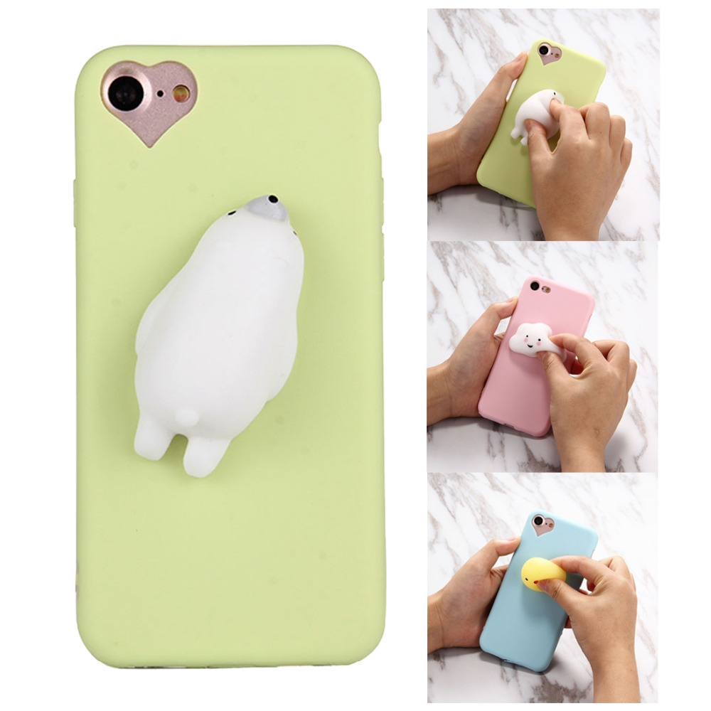 Squishy Phone Case For iPhone 7 plus Kawaii 3D Animal Pattern Soft Silicone Back Squishy Phone ...