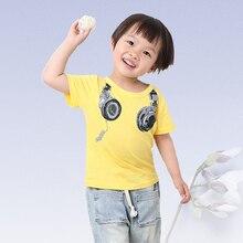 где купить Baby boy T-shirt summer children short-sleeved round neck cartoon printing cotton children baby casual wild 2-8 y  boy clothing по лучшей цене