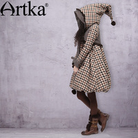 ARTKA Women's Winter Pointed Hood Rabbit Fur Plaid Embroidery Bow Warm Wadded Outerwear Long A line Casual Padded Coat A09860